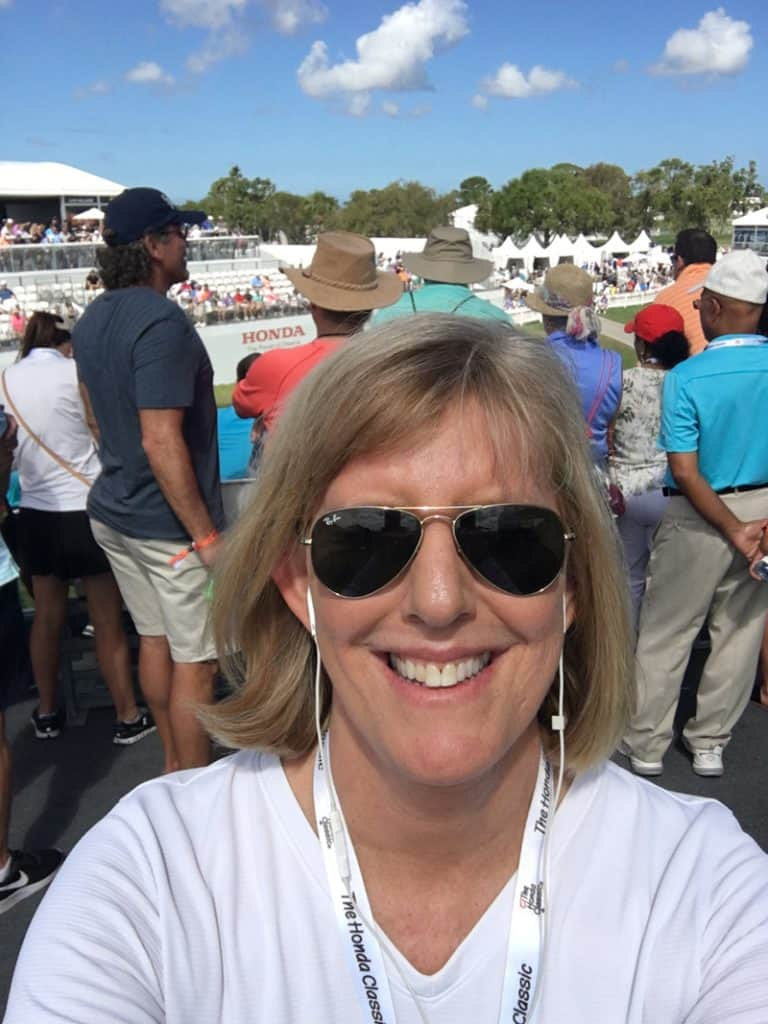 "Selfie working as a producer on the ""fan side"" at The Honda Classic, February 2018. Record crowds!"
